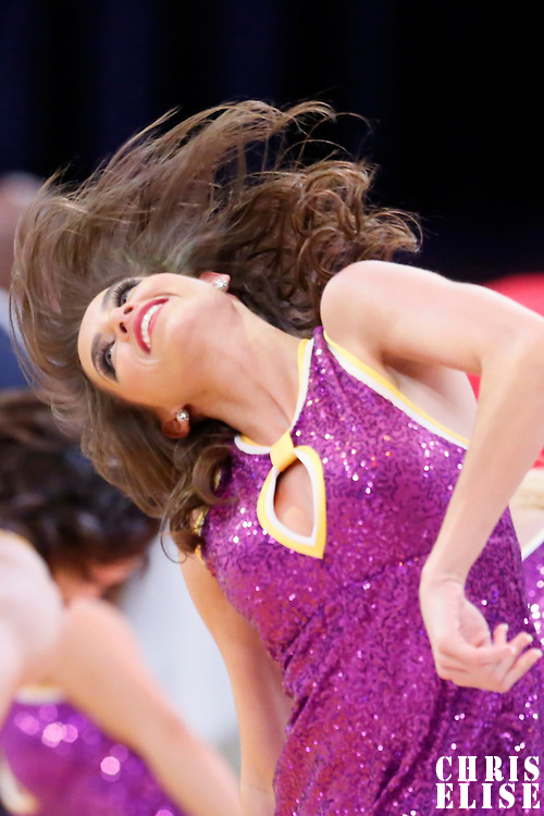 27 January 2015:  Lakers Girl Shelbie performs during the Washington Wizards 98-92 victory over the Los Angeles Lakers, at the Staples Center, Los Angeles, California, USA.