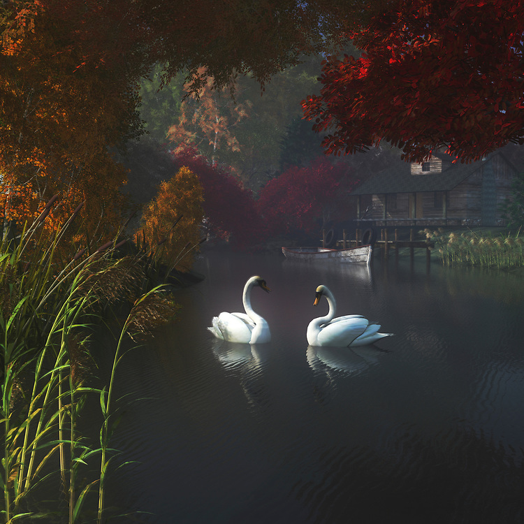 One of Jan Keteleer's most breathtaking nature scenes, this piece combines gorgeous, detailed swans with one of the richest natural backdrops you are ever going to find. Further extraordinary detail can be found in the trees. You can even go so far as to imagine the details within the trees. In the end, it is entirely up to you, but this is a piece that can transport you to somewhere special. The house in the background is peaceful, and it is calling you home. This truly unique acryl on canvas piece is available as t-shirts, wall art, or interior décor products. .<br /> <br /> BUY THIS PRINT AT<br /> <br /> FINE ART AMERICA<br /> ENGLISH<br /> https://janke.pixels.com/featured/swans-in-a-river-near-home-jan-keteleer.html<br /> <br /> <br /> WADM / OH MY PRINTS<br /> DUTCH / FRENCH / GERMAN<br /> https://www.werkaandemuur.nl/nl/shopwerk/Dierenrijk---Zwanen-in-een-rivier-in-de-buurt-van-huis/437700/134