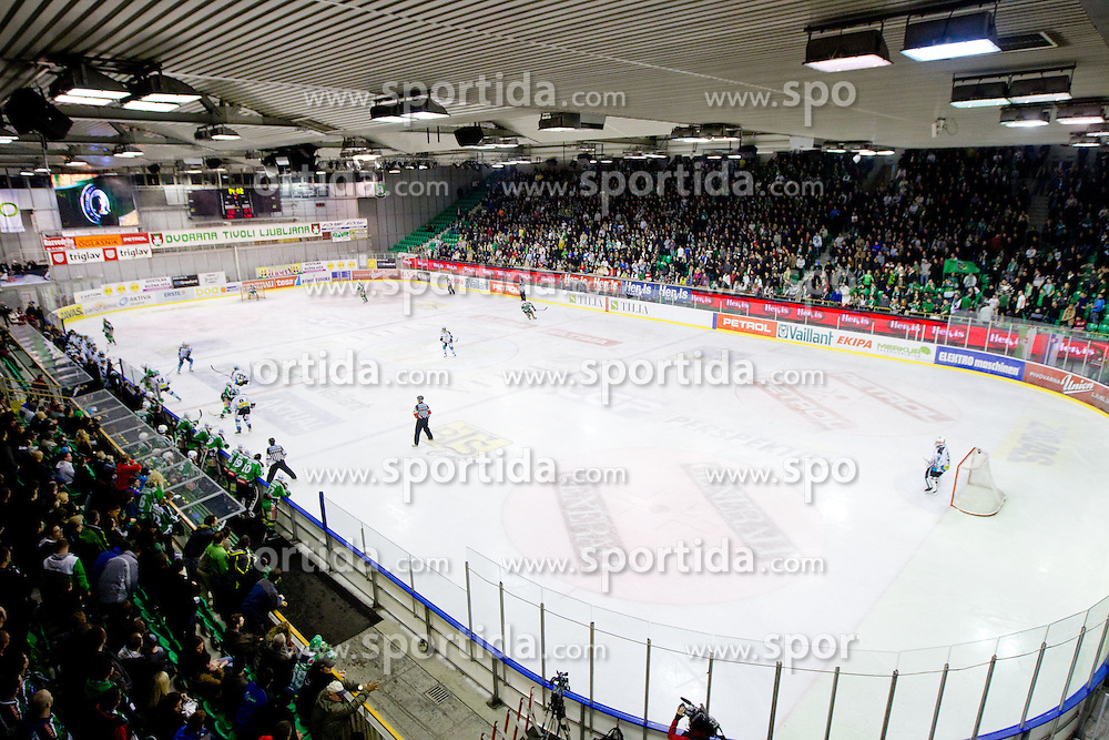 View on the ice rink during ice-hockey match between HDD Tilia Olimpija and EHC Liwest Black Wings Linz at fourth match in Semifinal  of EBEL league, on March 13, 2012 at Hala Tivoli, Ljubljana, Slovenia. (Photo By Matic Klansek Velej / Sportida)
