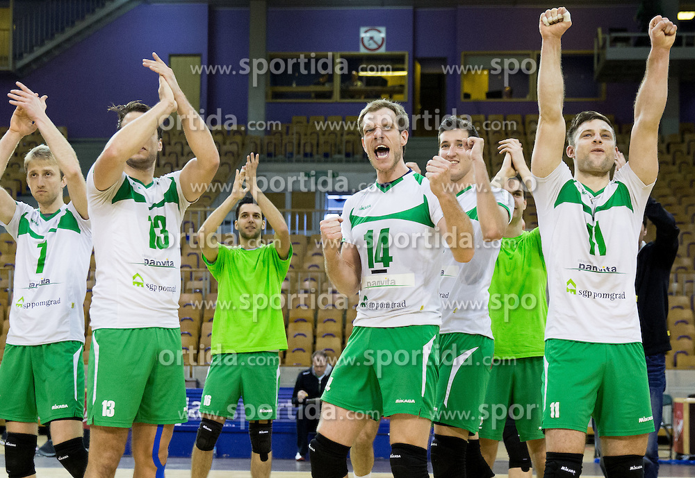 Ivan Colovic, Aljosa Bogozalec, Andrej Tot, Gorazd Flisar and other players of Panvita celebrate during volleyball game between OK ACH Volley and OK Panvita Pomgrad in 1st final match of Slovenian National Championship 2013/14, on April 6, 2014 in Arena Tivoli, Ljubljana, Slovenia. Photo by Vid Ponikvar / Sportida