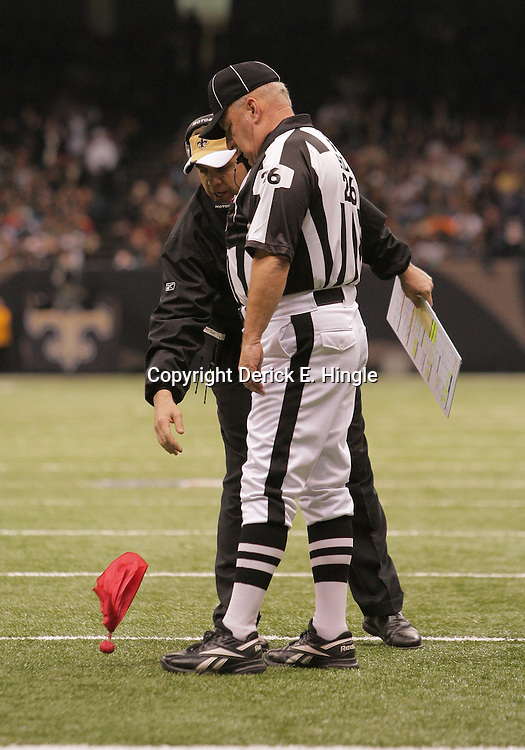 2008 December, 07: New Orleans Saints head coach Sean Payton drops the red challenge flag to contest a Falcons touchdown, the Saints lost the challenge but went on to a 29-25 victory over NFC South divisional rivals the Atlanta Falcons at the Louisiana Superdome in New Orleans, LA.