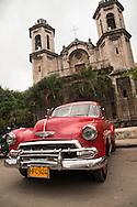 American car in front of Iglesia del Cristo, Havana, Cuba