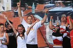 Two best couples in Partner Stunt: Julia Goehler & Christian Holzleiter, Germany (2nd place) and  Olympia Wosnitza & Daniel Smit, Germany (1st place) happy during final ceremony at second day of European Cheerleading Championship 2008, on July 6, 2008, in Arena Tivoli, Ljubljana, Slovenia. (Photo by Vid Ponikvar / Sportal Images).