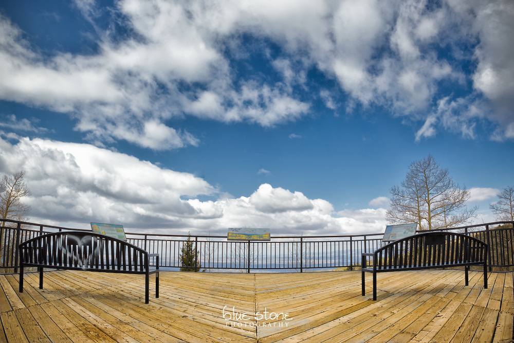 Symmetrical setting with two benches that overlook the landscape gives the impression of being in the clouds.<br /> <br /> Wall art is available in metal, canvas, float wrap and standout. Art prints are available in lustre, glossy, matte and metallic finishes.