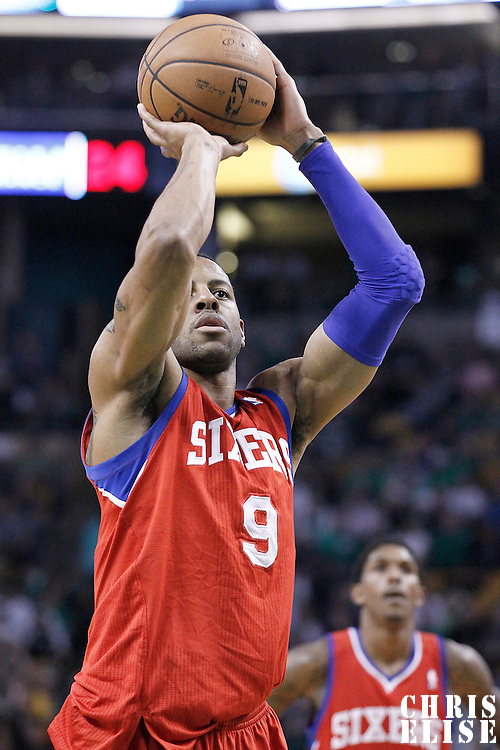 14 May 2012: Philadelphia Sixers small forward Andre Iguodala (9) is seen at the free throw line during the Philadelphia Sixers 82-81 victory over the Boston Celtics, in Game 2 of the Eastern Conference semifinals playoff series, at the TD Banknorth Garden, Boston, Massachusetts, USA.