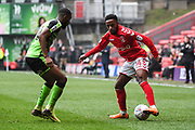 Charlton Athletic Midfielder Tariqe Fosu (14) and Plymouth Argyle Midfielder Moses Makasi (14) in action during the EFL Sky Bet League 1 match between Charlton Athletic and Plymouth Argyle at The Valley, London, England on 24 March 2018. Picture by Stephen Wright.