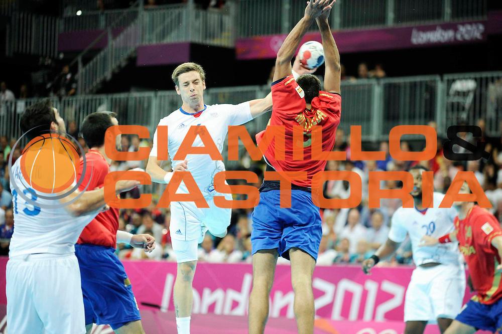 DESCRIZIONE : Handball Jeux Olympiques Londres Quart de Finale<br /> GIOCATORE : Barachet Xavier FRA<br /> SQUADRA : France Homme<br /> EVENTO : FRANCE Handball Jeux Olympiques<br /> GARA : France Espagne<br /> DATA : 08 08 2012<br /> CATEGORIA : handball Jeux Olympiques<br /> SPORT : HANDBALL<br /> AUTORE : JF Molliere <br /> Galleria : France JEUX OLYMPIQUES 2012 Action<br /> Fotonotizia : France Handball Homme Jeux Olympiques Londres Quart de Finale Basketball Arena<br /> Predefinita :