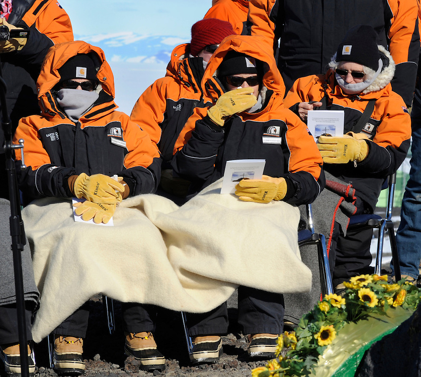 Family members of the victims during the service at the Koru memorial site to mark the 35th anniversary of the Mt Erebus air accident which cost the lives 275 passengers and crew, Scott Base, Antarctica, Friday, November 14, 2014 Credit:SNPA / POOL, Ross Land **FREE FOR EDITORIAL USE**