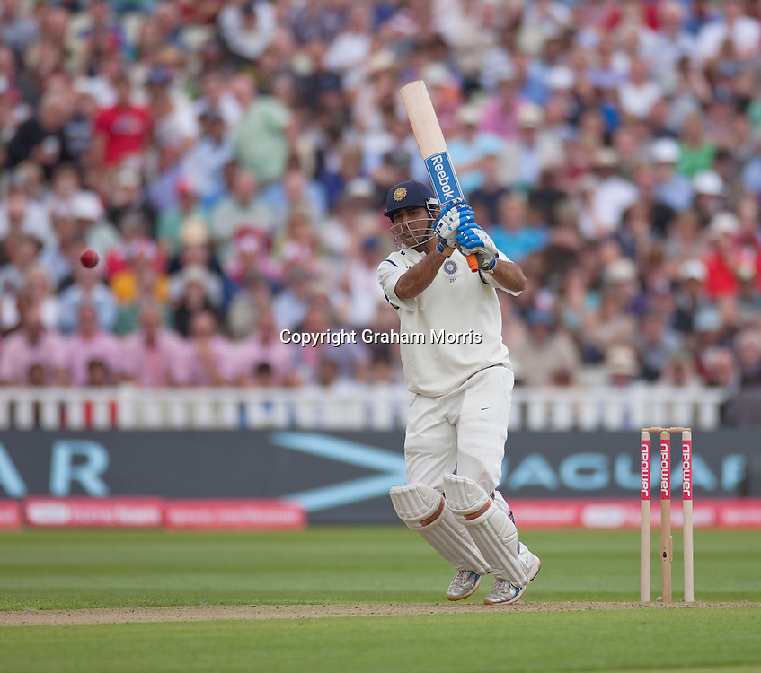Captain Mahendra Singh Dhoni bats during the third npower Test Match between England and India at Edgbaston, Birmingham.  Photo: Graham Morris (Tel: +44(0)20 8969 4192 Email: sales@cricketpix.com) 10/08/11