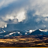 a strom drops snow on heart butte along the rocky mountain front, montana badger two medicine area of the rocky mountain front, montana, rocky mountains