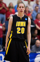 March 22, 2010; Stanford, CA, USA;  Iowa Hawkeyes forward Kelly Krei (20) during the first half against the Stanford Cardinal in the second round of the 2010 NCAA womens basketball tournament at Maples Pavilion. Stanford defeated Iowa 96-67.