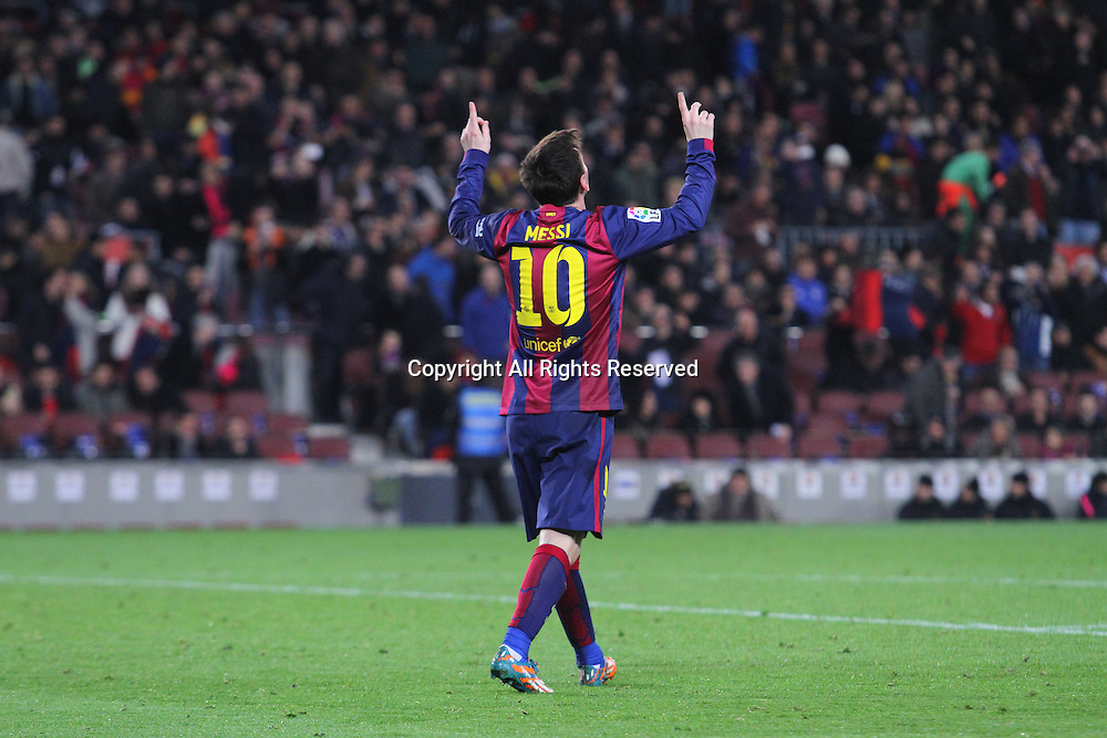 11.02.2015 Barcelona, Spain. Spanish Cup , Semi-final.  Leo Messi celebrates his 41st minute goal during game between FC Barcelona against Villareal at Camp Nou