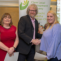 Lauryn Sinead Murphy from Kilmurry McMahon received a Distinction in General Learning from tutors Simon Ratcliffe and Michelle Madigan at the Clare Local Development Company Annual QQI Awards Evening held in the Old Ground Hotel on Tuesday last