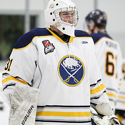 TRENTON, ON - NOV 10:  Tucker Weppner #31 of the Buffalo Jr. Sabres during the OJHL regular season game between the  Buffalo Jr Sabres and Trenton Golden Hawks on November 10, 2016 in Trenton, Ontario. (Photo by Amy Deroche/OJHL Images)