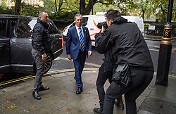 © Licensed to London News Pictures. 25/09/2019. London, UK. Brexit Party leader NIGEL FARAGE is seen arriving for a television interview in Westminster on the day that MPs return to Parliament. The Supreme Court in London yesterday ruled that Parliament had been suspended illegally after British Prime Minster Boris Johnson prorogued parliament just weeks before the UK is due to leave the EU on October 31st. Photo credit: Ben Cawthra/LNP