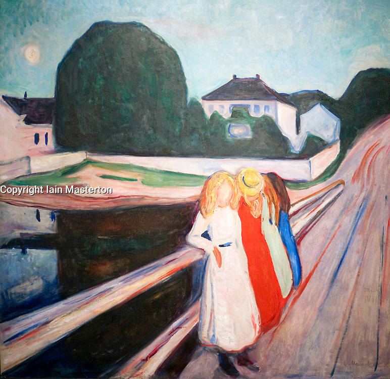 Painting Four Girls on a Bridge by Edvard Munch at Wallraf Richartz museum in Cologne Germany