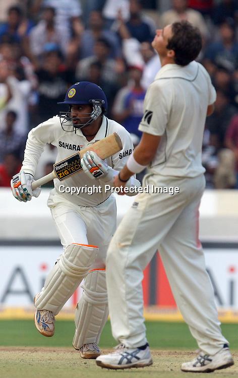 Indian batsman Harbhajan Singh run bitween the wicket against New Zealand during the 2nd test match India vs New Zealand Played at Rajiv Gandhi International Stadium, Uppal, Hyderabad 14, November 2010 (5-day match)