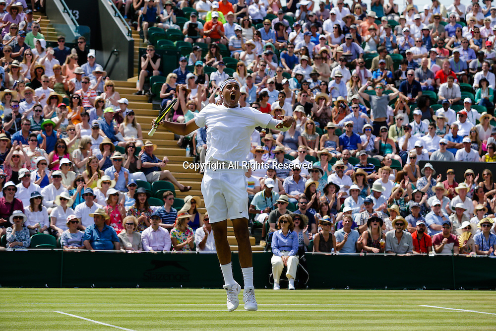 03.07.2015.  Wimbledon, England. The Wimbledon Tennis Championships. Gentlemens Singles third round match between twenty sixth seed Nick Kyrgios (AUS) and seventh seed Milos Raonic (CAN).  Nick Kyrgios celebrates winning the second set