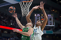 Real Madrid Walter Tavares and Unicaja Dragan Milosavljevic during Turkish Airlines Euroleague match between Real Madrid and Unicaja at Wizink Center in Madrid, Spain. November 16, 2017. (ALTERPHOTOS/Borja B.Hojas)