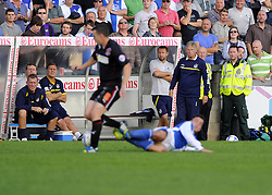 Bristol Rovers Manager, John Ward and his coaching staff watch on from the dug out - Photo mandatory by-line: Joe Meredith/JMP - Tel: Mobile: 07966 386802 05/10/2013 - SPORT - FOOTBALL - Memorial Stadium - Bristol - Bristol Rovers V Fleetwood Town - Sky Bet League 2