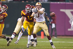 Dec 26, 2009; San Francisco, CA, USA;  Southern California Trojans linebacker Michael Morgan (17) is called for pass interference against Boston College Eagles tight end Chris Pantale (81) during the second quarter in the 2009 Emerald Bowl at AT&T Park.  USC defeated BC 24-13.