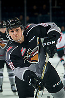 KELOWNA, CANADA - FEBRUARY 16:  Nicholas Draffin #26 of the Vancouver Giants warms up against the Kelowna Rockets on February 16, 2019 at Prospera Place in Kelowna, British Columbia, Canada.  (Photo by Marissa Baecker/Shoot the Breeze)