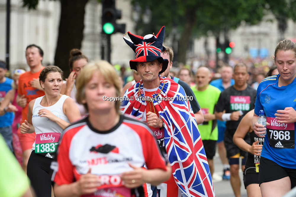 Runners on Whitehall during The Vitality London 10,000, Monday 29th May 2017.<br /> <br /> Photo: Thomas Lovelock for The Vitality London 10,000<br /> For further information: media@londonmarathonevents.co.uk