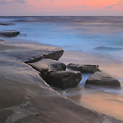 Rock Formations At High Tide - La Jolla Shoreline - Dusk