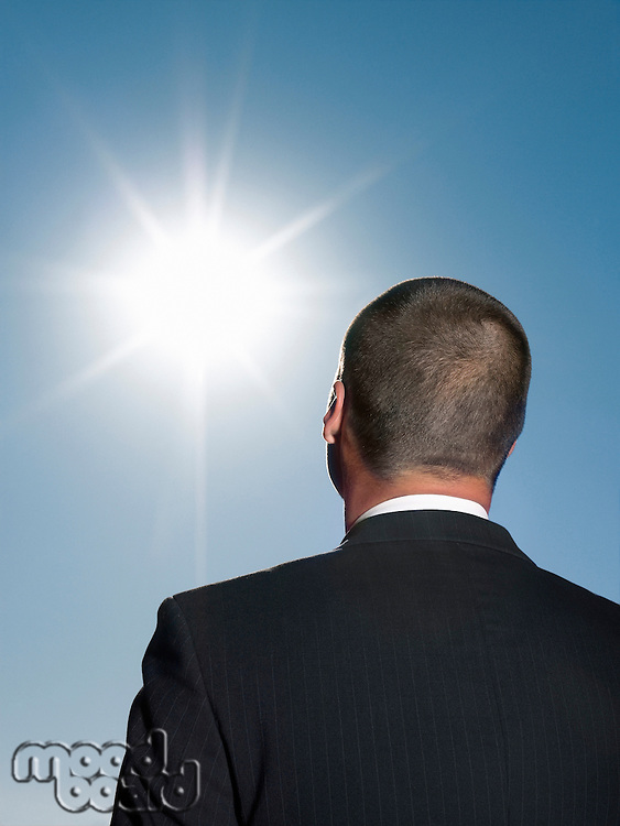 Businessman looking at sun head and shoulders back view