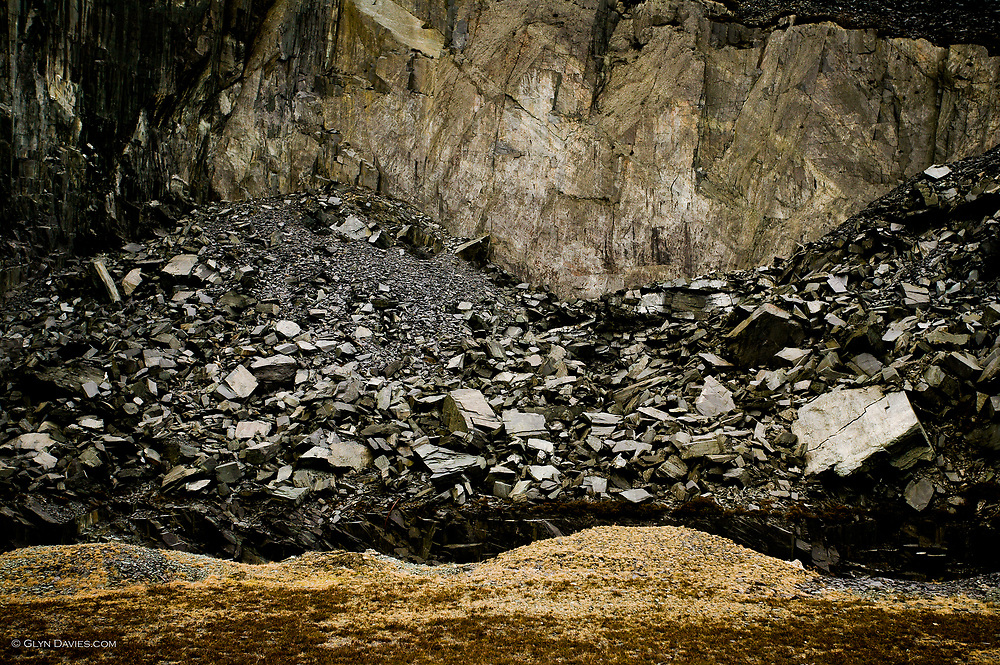 Abstract landscape in the Dinorwic Quarries near Llanberis, Snowdonia.
