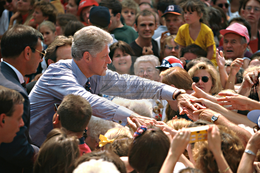 U.S. President Bill Clinton during a campaign stop on the presidential re-election train tour on the way to the Democratic National Convention August 27, 1996 in Cincinnati, Ohio.