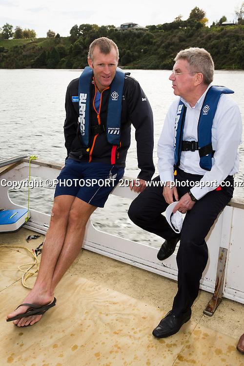 Mahe Drysdale and IOC president Thomas Bach, on a barge at the Rowing NZ Media Day, Lake Karapiro, Cambridge, New Zealand, Wednesday 6 May 2015. Photo: Stephen Barker/Photosport.co.nz