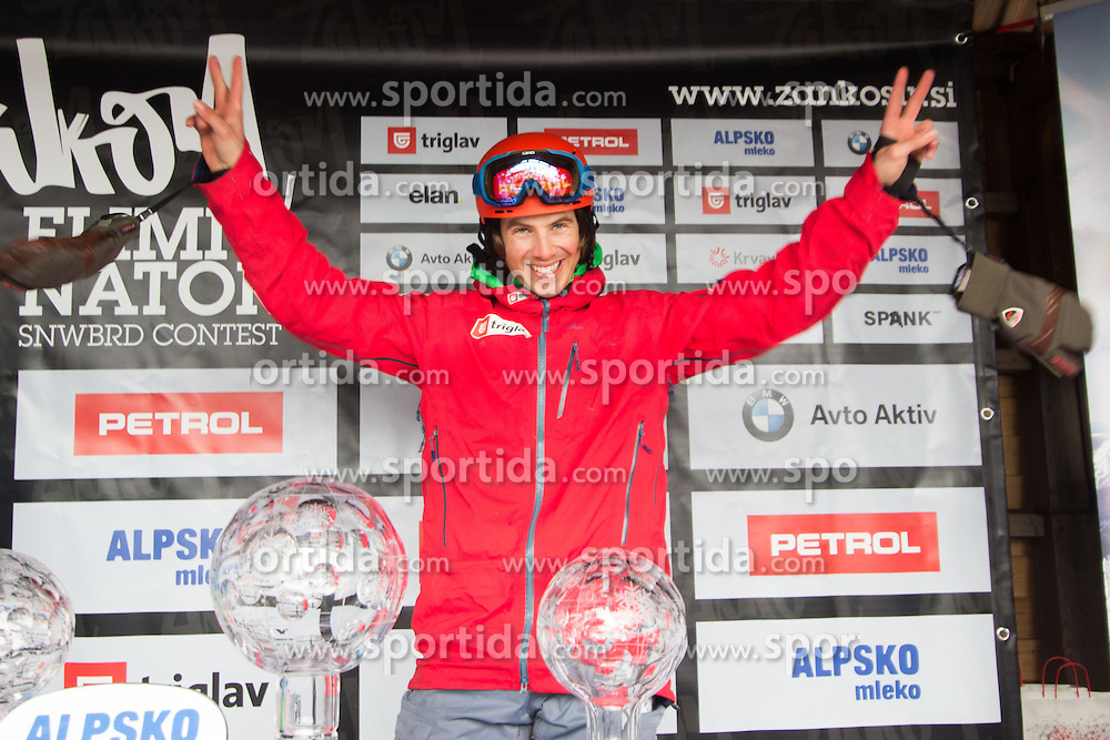 Snowboard - Crystal globe party of Zan Kosir of Sovenia when he became Snowboards World Cup Champion 2015, March 15, 2015, at Krvavec, Slovenia.
