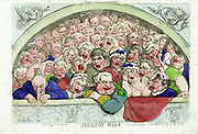 Pidgeon hole. A Convent Garden contrivance to coop up the gods' / Rowlandson,  'A close-up view of one of the 'pigeon holes' which flanked the upper gallery at Covent Garden...'  engraving, hand-collared. 1811By Thomas Rowlandson 1756-1827.