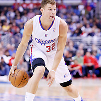 24 March 2014: Los Angeles Clippers forward Blake Griffin (32) dribbles during the Los Angeles Clippers 106-98 victory over the Milwaukee Bucks at the Staples Center, Los Angeles, California, USA.