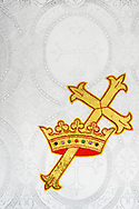 The cross and crown woven parament on Wednesday, May 13, 2020, at Trinity Lutheran Church, Millstadt, Ill. LCMS Communications/Erik M. Lunsford