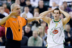 Referee and Sani Becirovic (7) of Olimpija at Group C of Euroleague basketball match between KK Union Olimpija, Slovenia and Caja Laboral, Spain, on November 5, 2009, in Arena Tivoli, Ljubljana, Slovenia.  (Photo by Vid Ponikvar / Sportida)