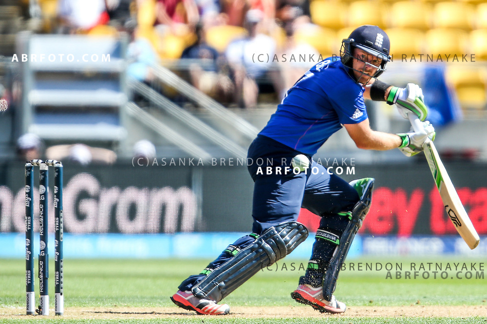 Ian Bell batting watches the ball off his bat during the 2015 ICC Cricket World Cup Pool A group match between England Vs Sri Lanka at the Wellington Regional Stadium, Wellington, New Zealand.