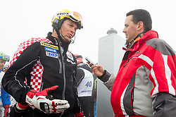 Ivica Kostelic of Croatia and journalist Martin Pavcnik during last race of Andrej Jerman, Slovenian best downhill skier when he finished his professional alpine ski career on April 6, 2013 in Krvavec Ski resort, Slovenia. (Photo By Vid Ponikvar / Sportida)