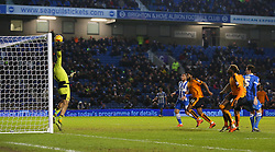 Lewis Dunk ( R ) of Brighton and Hove Albion has his shot on goal saved by Carl Ikeme of Wolverhampton Wanderers - Mandatory byline: Paul Terry/JMP - 07966 386802 - 01/01/2016 - FOOTBALL - Falmer Stadium - Brighton, England - Brighton v Wolves - Sky Bet Championship