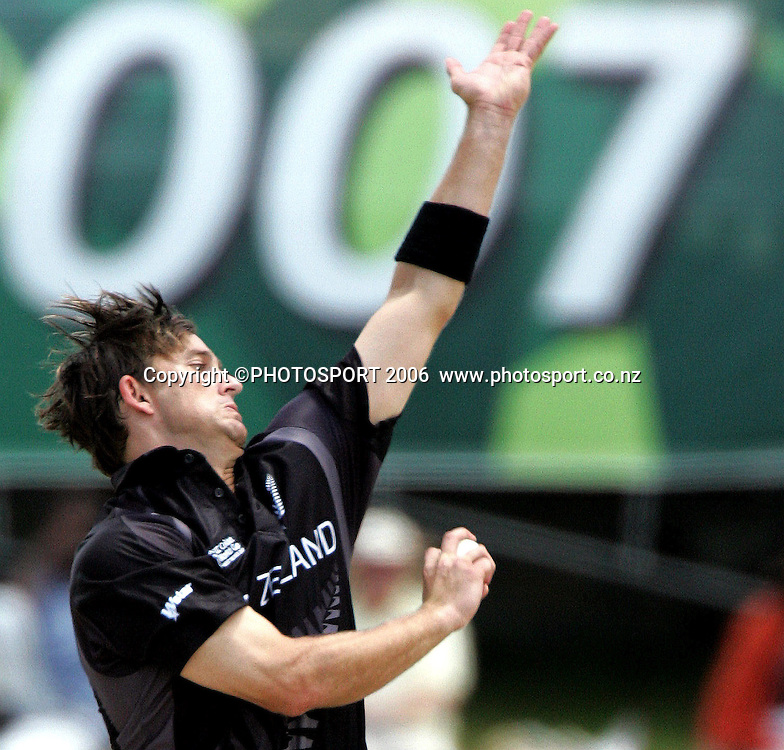New Zealand bowler Shane Bond bowling at the Super 8 Cricket World Cup match, New Zealand v Bangladesh at the Sir Vivian Richards Cricket Ground in Antigua, West Indies on Monday 2 April 2007. Bangladesh batted first and scored 174. Photo: Andrew Cornaga/PHOTOSPORT<br /><br /><br />020407