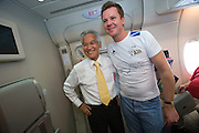 Airbus A380 first commercial flight - Singapore Airlines SQ 380 Singapore-Sydney on October 25, 2007. Singapore Airlines Chairman Chew Choon Seng (yellow tie) has his picture taken with every passenger.