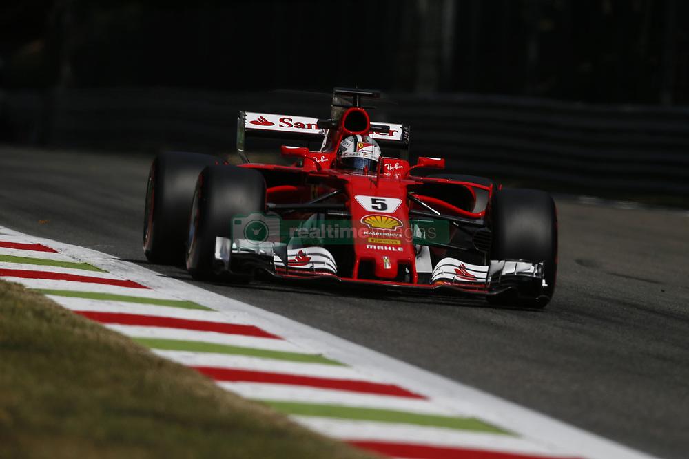 September 1, 2017 - Monza, Italy - SEBASTIAN VETTEL of Germany and Scuderia Ferrari drives during practice session of the 2017 Formula 1 Italian Grand Prix in Monza, Italy. (Credit Image: © James Gasperotti via ZUMA Wire)