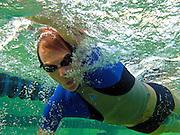 A swimmer seen underwater at Deep Eddy Pool, Austin, Texas, January 7, 2009.