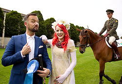 No Fee for Repro:.Brendan Courtney is pictured with Irish designer Sorcha O'Raghallaigh as Blossom Hill announce them as part of the impressive line up of judges for this year's 'Blossom Hill Ladies' Day' at the Dublin Horse Show on Thursday, 16 August...Fashion expert Brendan Courtney from RTE's 'Off The Rails' will MC the event, while Haute Couture Irish designer (for Lady Gaga among others) Sorcha O'Raghallaigh and award-winning television and radio presenter Lucy Kennedy will be on hand at 'Blossom Hill Ladies' Day' to select the best dressed lady. The winner will walk away with an incredible shopping trip to New York worth ?8,000!??There will also be other prizes on offer including 'Most Creative Hat', 'Most Colourful Outfit' and 'Best Dressed Male'.?To enter 'Blossom Hill Ladies' Day', all you have to do is purchase a general admission ticket to the Dublin Horse Show, show up on the day looking fabulous and then register to enter on the band lawn!?.For more details check out www.facebook.com/BlossomHillIreland .Picture: Andres Poveda.???For further details, please contact:?Breda Brown / Frankie Bannon?Unique Media?Tel: (01) 522 5200 or (087) 7725661 (FB).