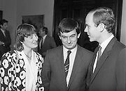 Prince Albert of Monaco at Iveagh House.1986..19.09.1986..09.19.1986.19th September 1986..Prince Albert of Monaco visited Iveagh House,Dublin as part of his visit to Ireland. He was welcomed by Minister of State at the Dept.,of Foreign Affairs,Mr George Bermingham T.D...Photograph of Myra and George Bermingham TD, Minister of State at the Dept.,of Foreign Affairs,sharing a quiet word with Prince Albert of Monaco.