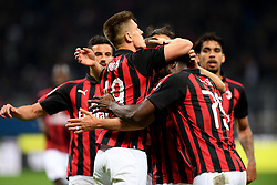 MILAN, May 7, 2019  AC Milan's Fabio Borini (C) celebrates his goal with his teammates during a Serie A soccer match between AC Milan and Bologna in Milan, Italy, May 6, 2019. AC Milan won 2-1. (Credit Image: © Daniele Mascolo/Xinhua via ZUMA Wire)