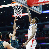 08 January 2018: LA Clippers guard Tyrone Wallace (12) goes for the layup during the LA Clippers 108-107 victory over the Atlanta Hawks, at the Staples Center, Los Angeles, California, USA.