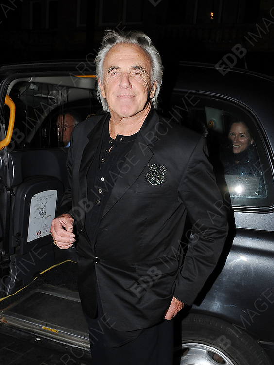 03.MAY.2011. LONDON<br /> <br /> PETER STRINGFELLOW LEAVING THE SCOTTS RESTAURANT IN MAYFAIR, CENTRAL LONDON<br /> <br /> BYLINE: EDBIMAGEARCHIVE.COM<br /> <br /> *THIS IMAGE IS STRICTLY FOR UK NEWSPAPERS AND MAGAZINES ONLY*<br /> *FOR WORLD WIDE SALES AND WEB USE PLEASE CONTACT EDBIMAGEARCHIVE - 0208 954 5968*