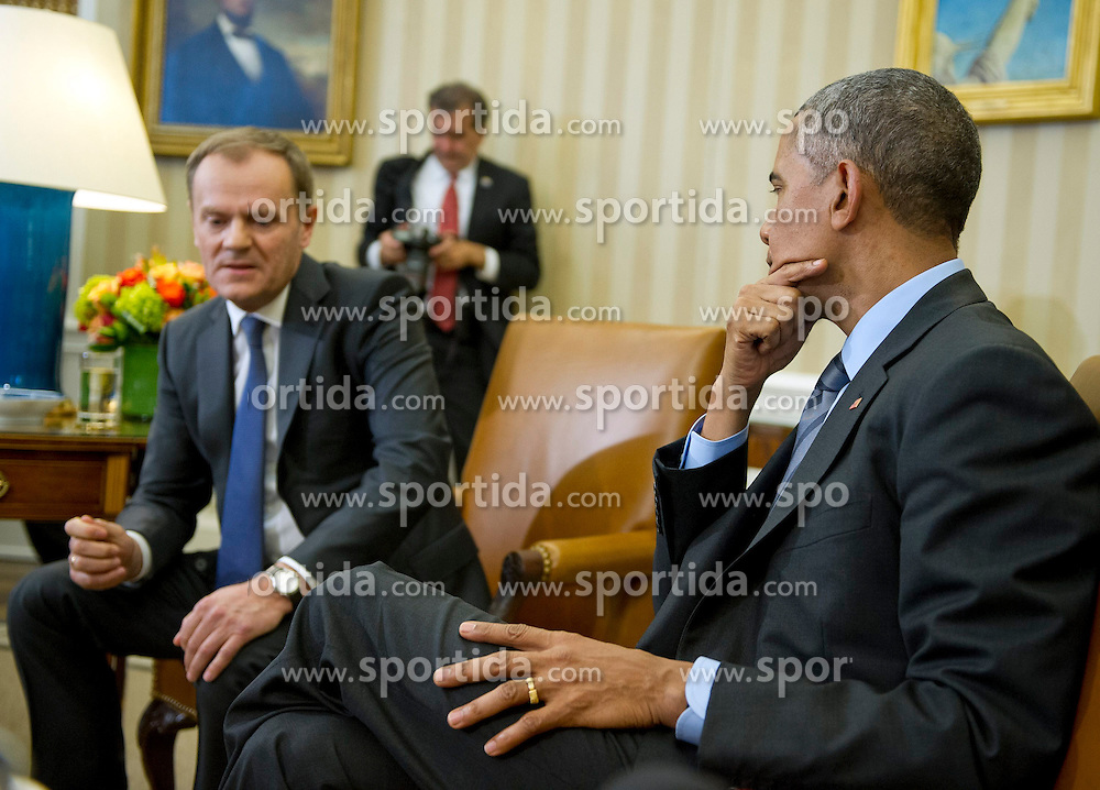 United States President Barack Obama hosts European Council President Donald Tusk in the Oval Office of the White House in Washington, D.C. on Monday, March 9, 2015. EXPA Pictures &copy; 2015, PhotoCredit: EXPA/ Photoshot/ Ron Sachs<br /> <br /> *****ATTENTION - for AUT, SLO, CRO, SRB, BIH, MAZ only*****